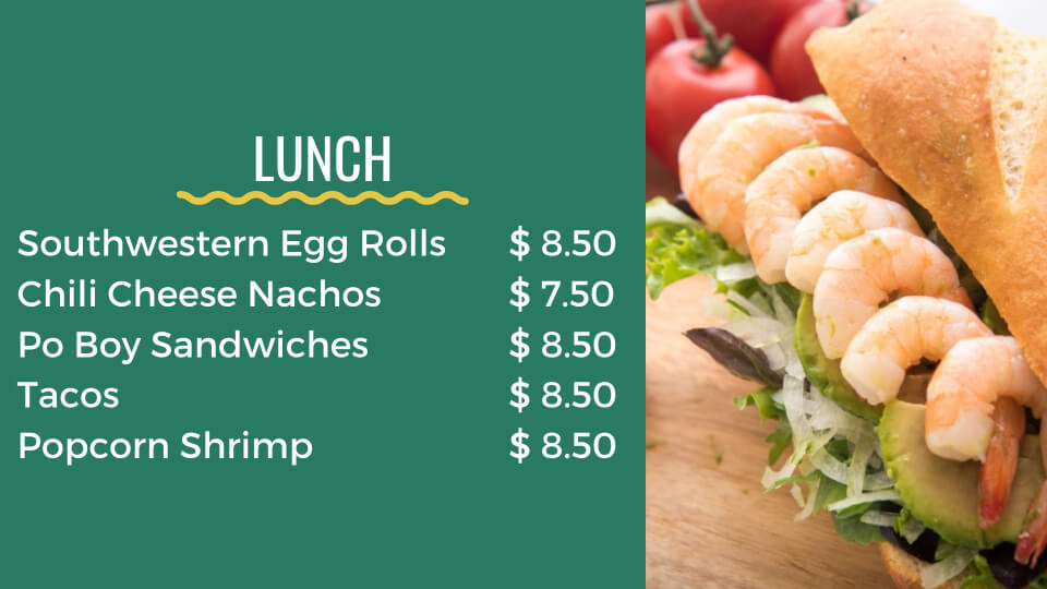 pockets menu lunch