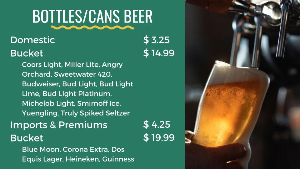 pockets menu beers