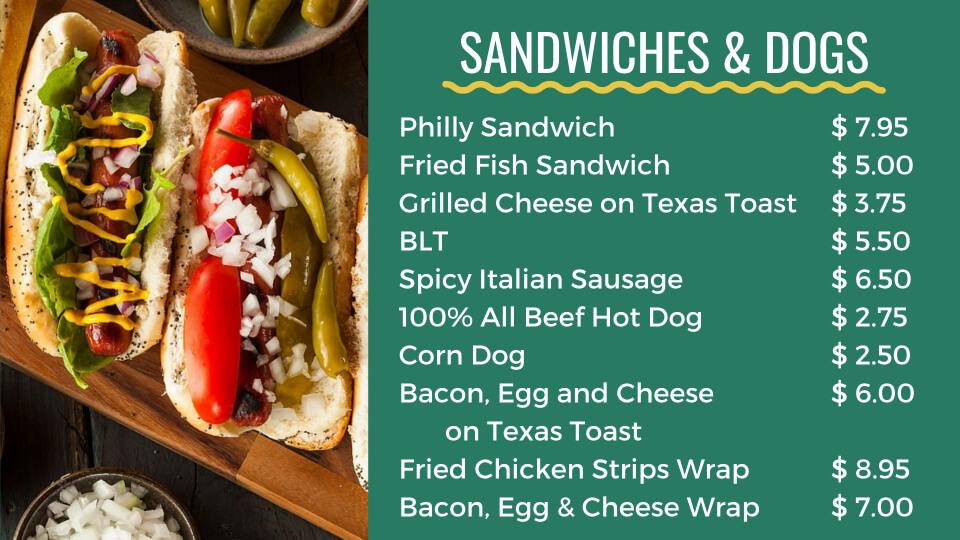 pockets menu sandwich hotdogs